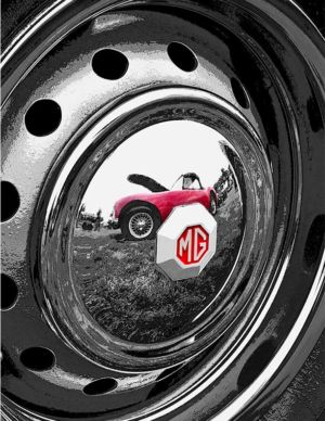 MG Reflection In Hubcap - British Invasion in Stowe, VT